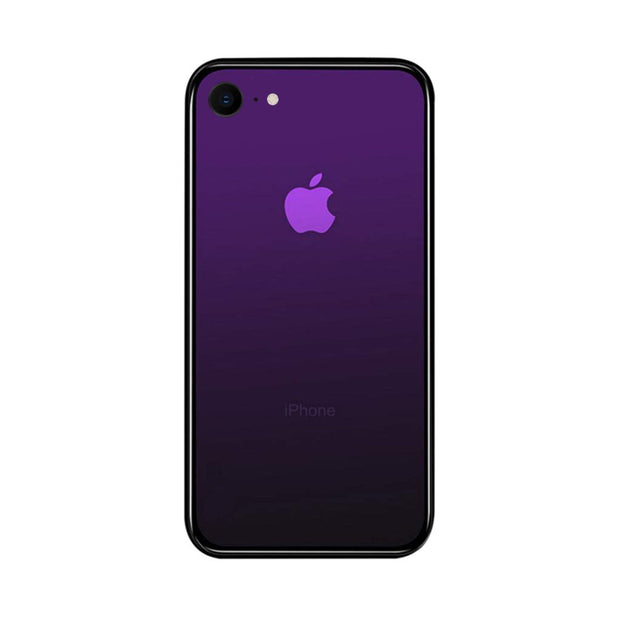 iPhone 7 / 8 Color Gradient TPU Case with Tempered Glass Back - Purple - Gorilla Gadgets