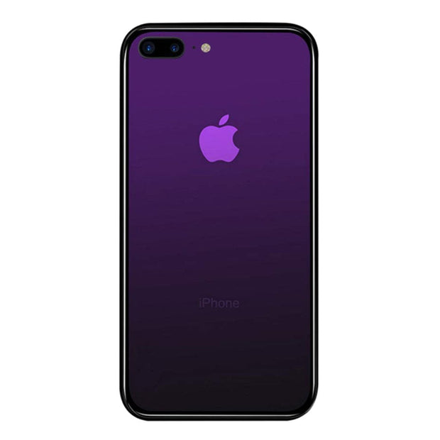 iPhone 7 / 8 Plus Color Gradient TPU Case with Tempered Glass Back - Purple - Gorilla Gadgets