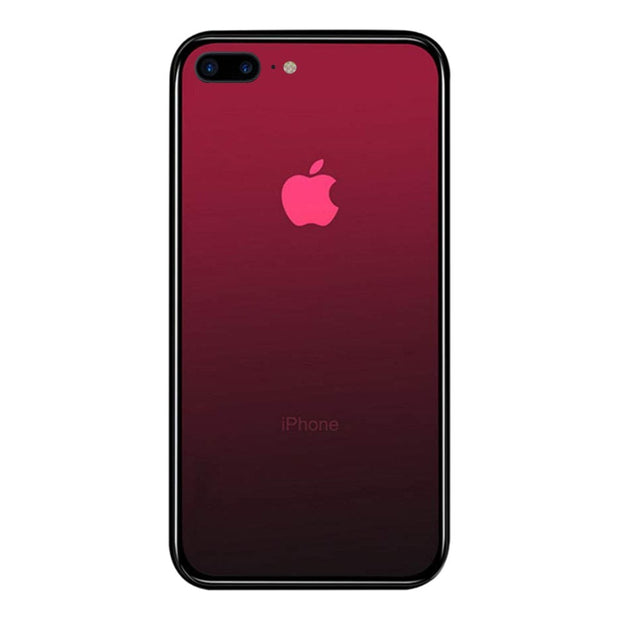iPhone 7 / 8 Plus Color Gradient TPU Case with Tempered Glass Back - Red - Gorilla Gadgets