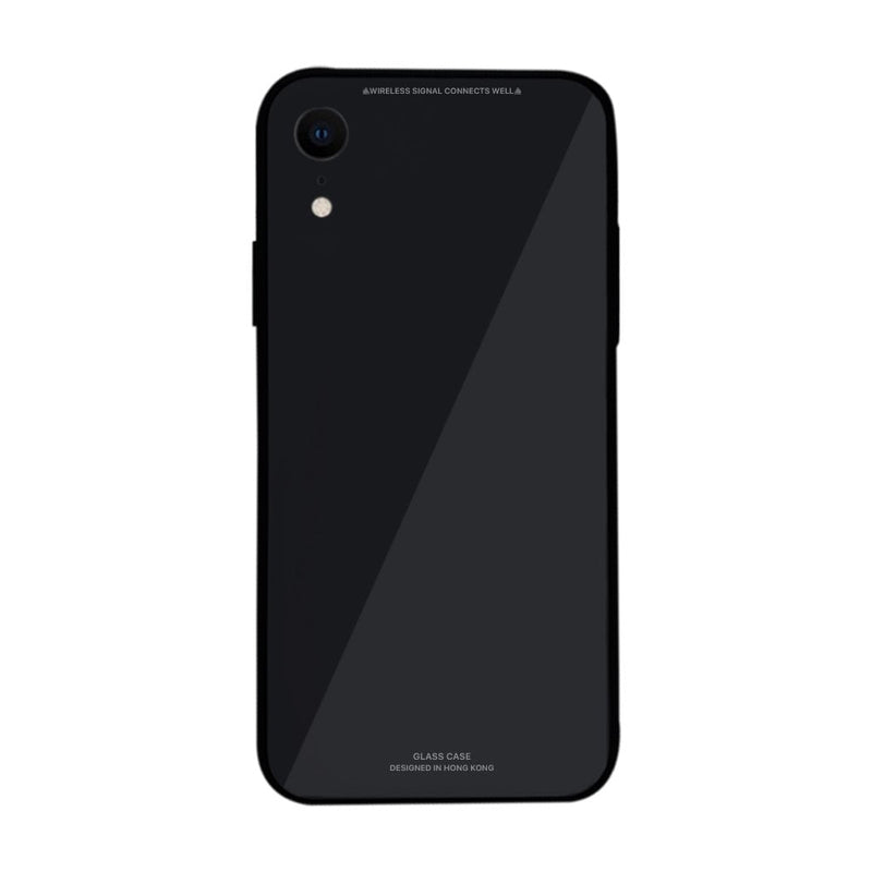 iPhone XR Slim TPU Fashion Case with 9H Tempered Glass Back - Black Color - Gorilla Gadgets