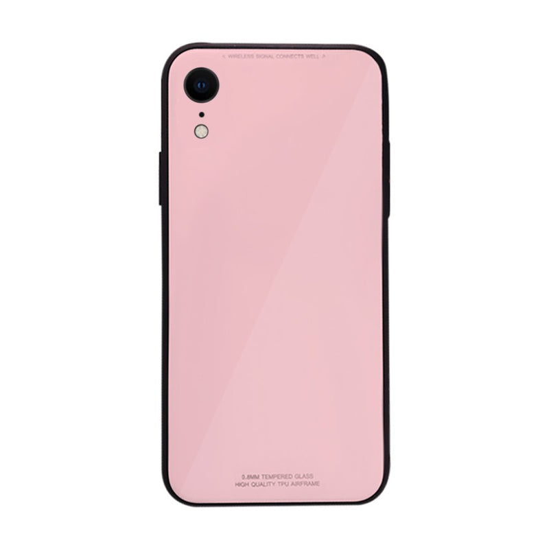 iPhone XR Slim TPU Fashion Case with 9H Tempered Glass Back - Pink Color - Gorilla Gadgets
