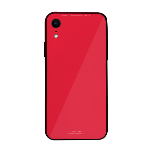 iPhone XR Slim TPU Fashion Case with 9H Tempered Glass Back - Red Color - Gorilla Gadgets
