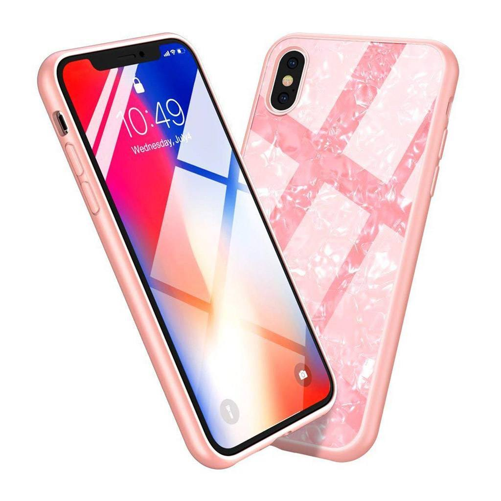 iPhone Xs Max Marble Pattern 9H Tempered Glass Case - Gorilla Gadgets