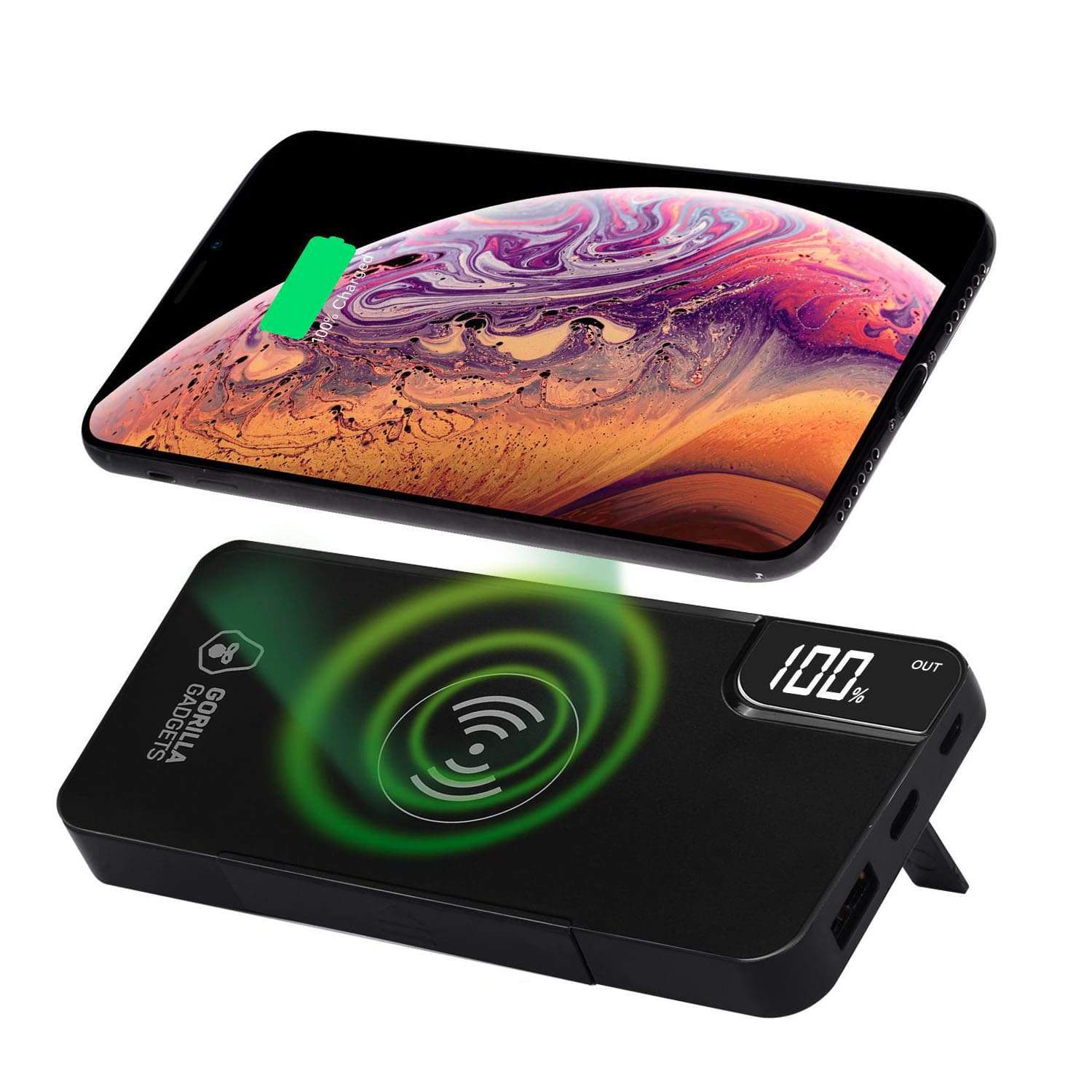 10000mAh Wireless Charger Power Bank with Kickstand