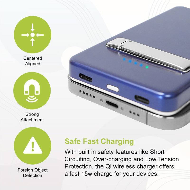 Portable Magnetic 5000mAh Fast Wireless Charging Power Bank With Kickstand