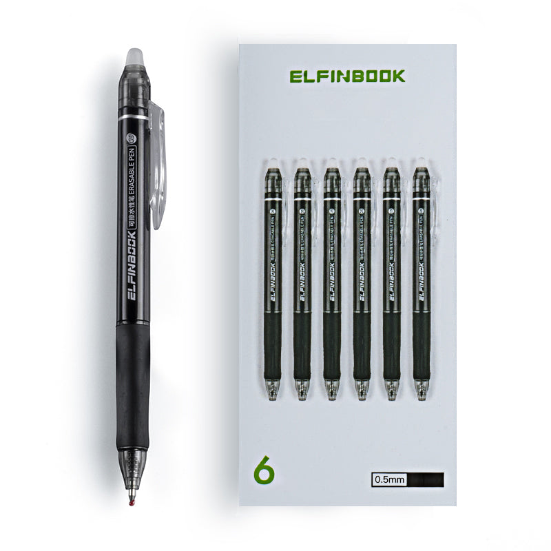 Elfinbook™ 6Pcs/Set Erasable Ballpoint Pen - 0.5mm Black ink