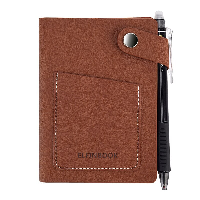 Elfinbook™ Mini Smart Reusable Notebook with Leather Case