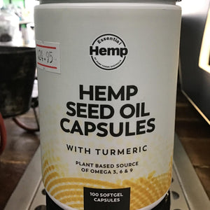 Hemp seed oil capsules with tumeric