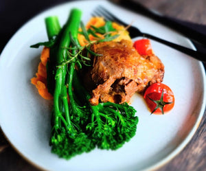 Braised Lamb Shoulder with Broccolini and Sweet Potato Mash