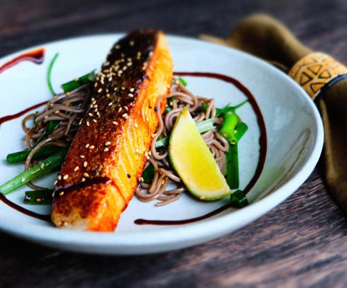 Maple Glazed Salmon with Sesame & Spring Onion Soba Noodles