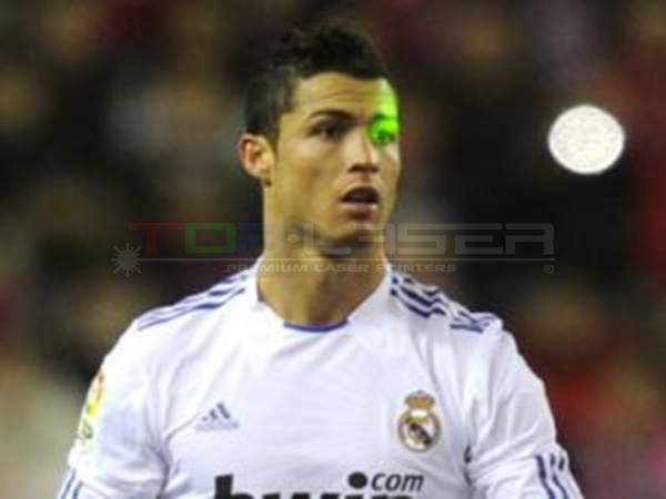 Laser Pointer attack with Cristiano Ronaldo in soccer match
