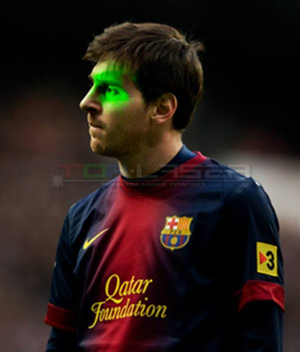 Laser Pointer attack with Messi in football match