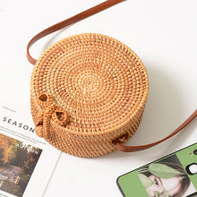Load image into Gallery viewer, Summer Bag - Rattan Bag - Shoulder Bag - Beach Bag - Crossbody BagSummer Bag - Rattan Bag - Shoulder Bag - Beach Bag - Crossbody Bag - Straw Bag - Bali Bag - Round Straw Bag - Woven Rattan Bag - Woven Bag - Hand-woven Bag Single Shoulder - Pateleven