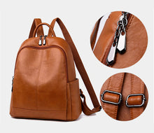 Load image into Gallery viewer, Brown leather rucksack, Brown leather backpack, Black leather rucksack, Black leather backpack, Genuine Leather - Ladies Rucksacks - Soft backpack - Small backpack - School bag - Pateleven