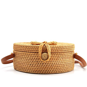 Summer Bag - Rattan Bag - Shoulder Bag - Beach Bag - Crossbody Bag - Straw Bag - Bali Bag - Round Straw Bag - Woven Rattan Bag - Woven Bag - Hand-woven Bag Single Shoulder - Pateleven