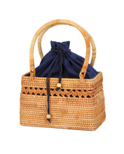Load image into Gallery viewer, Rattan Bag - Straw Bag - Bali Bag - Handbag - Handbags - Vintage Straw Bag - Vintage Bag - Top handle Bag - Woven Rattan Bag - Woven Bag