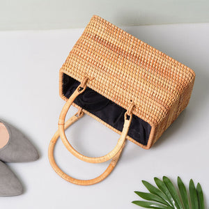Rattan Bag - Straw Bag - Bali Bag - Handbag - Vintage Straw Bag - Vintage Bag - Top handle Bag - Woven Rattan Bag - Woven Bag