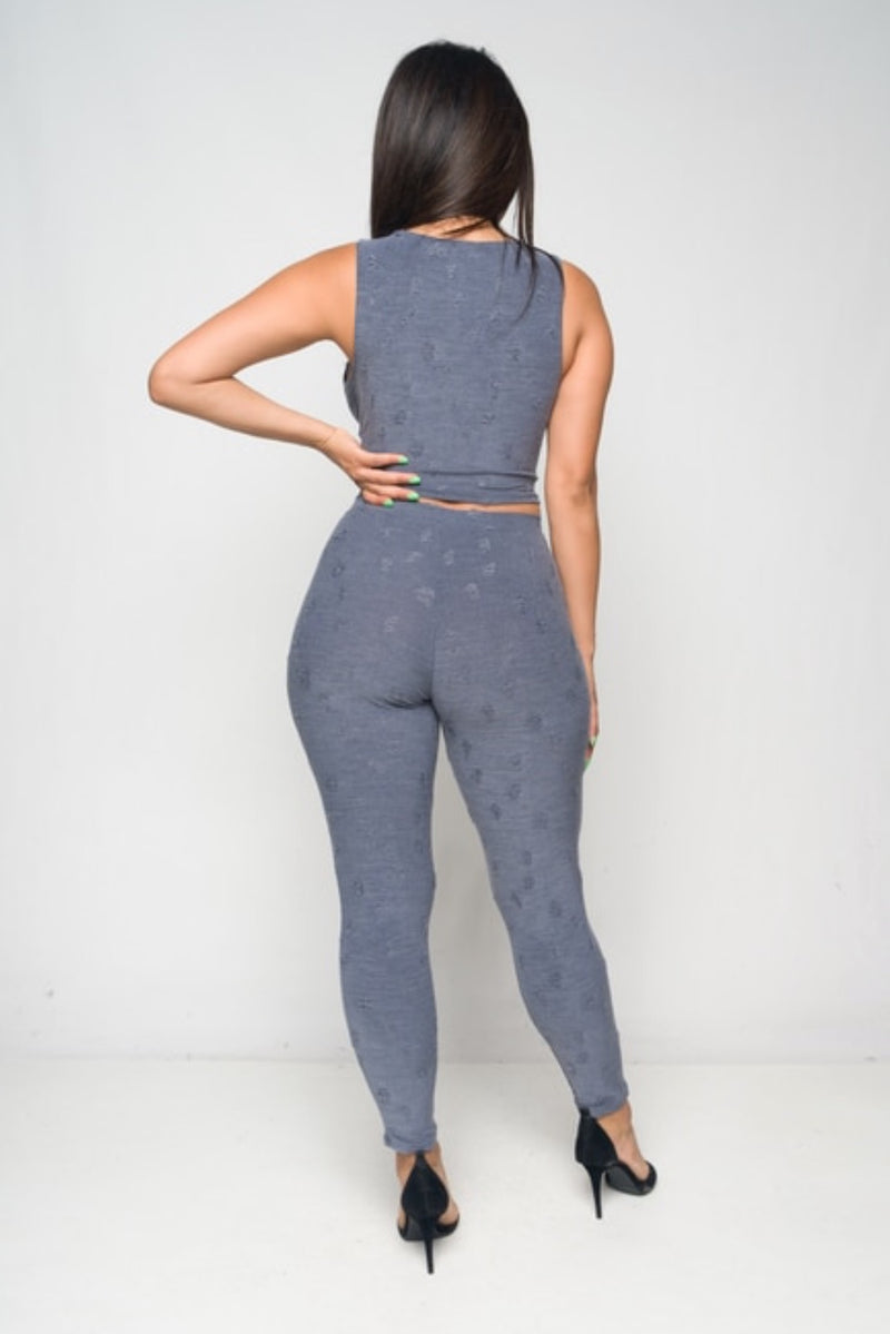Women's Front Tie Crop And Leggings Set