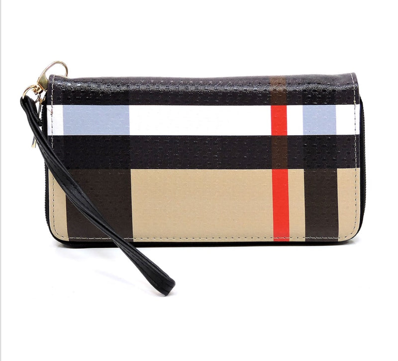 Women's Plaid Handbag with Matching Wallet