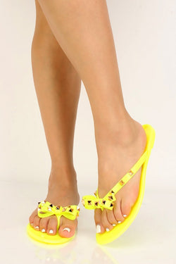Women's Neon Yellow Bow Tie Studded Flat Sandals