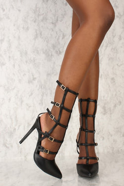 Women's High Heel Pointy Toe Gladiator Shoes