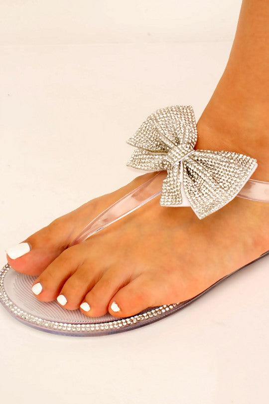Women's Bow Tie Rhinestone Jelly Sandals