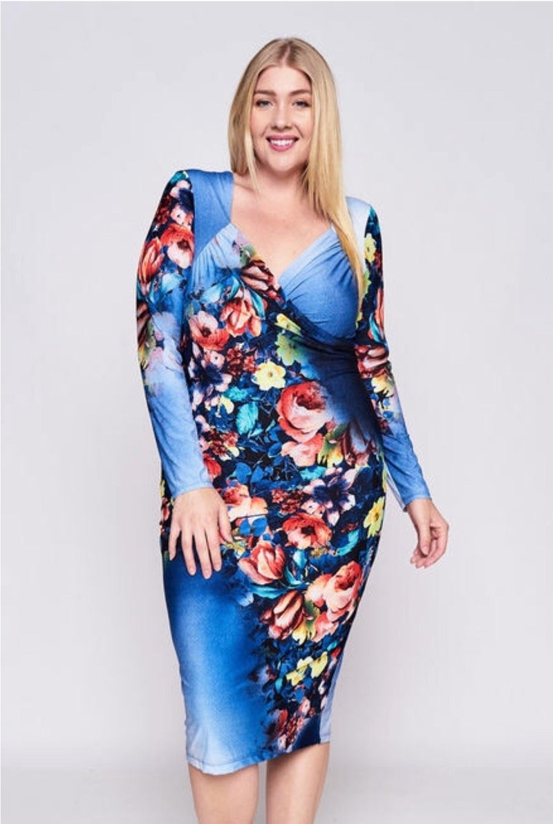 Women's Floral Print Long-Sleeve Bodycon Dress