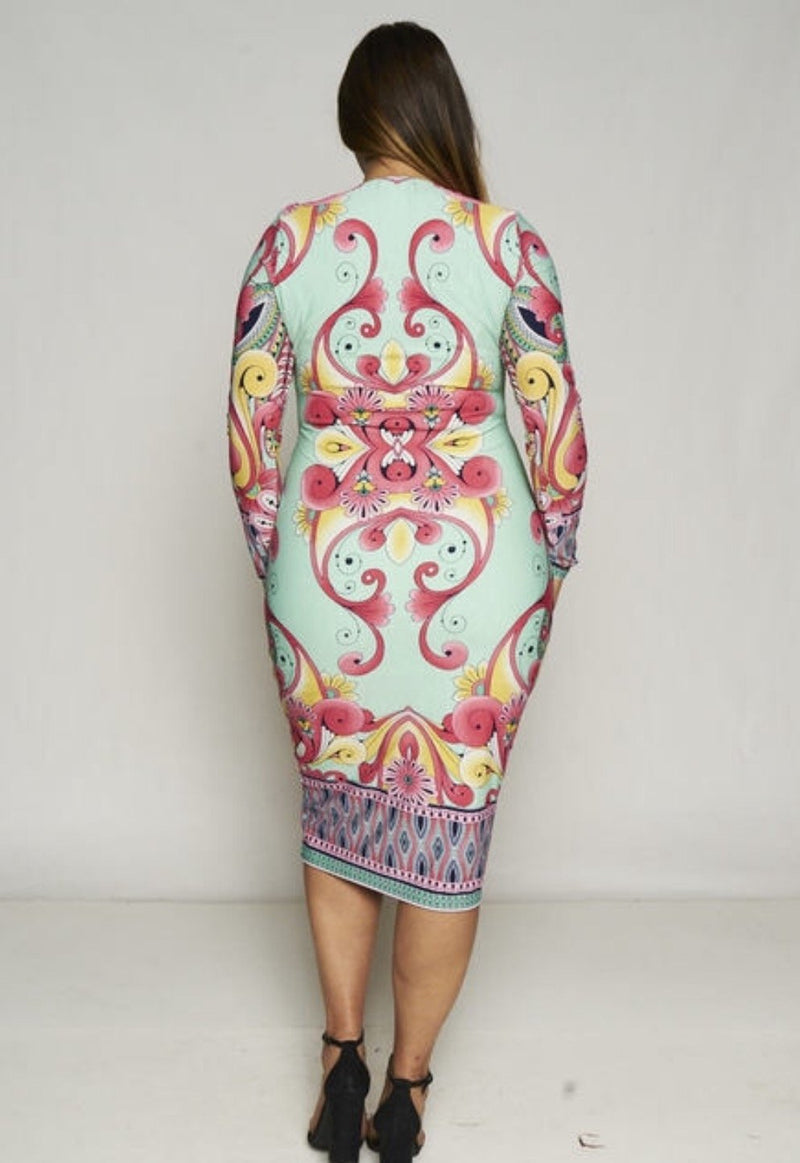 Women's Colorful Print Long-Sleeve Bodycon Dress