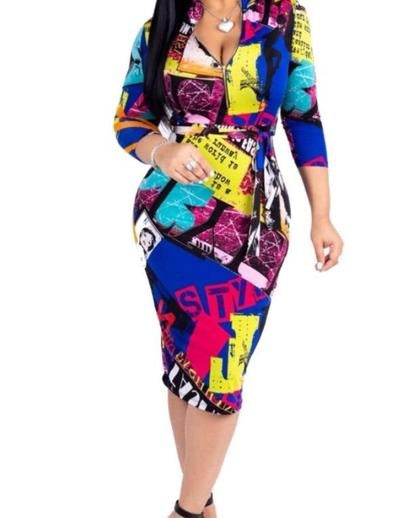 Women's Colorful Half-Sleeve Bodycon Dress