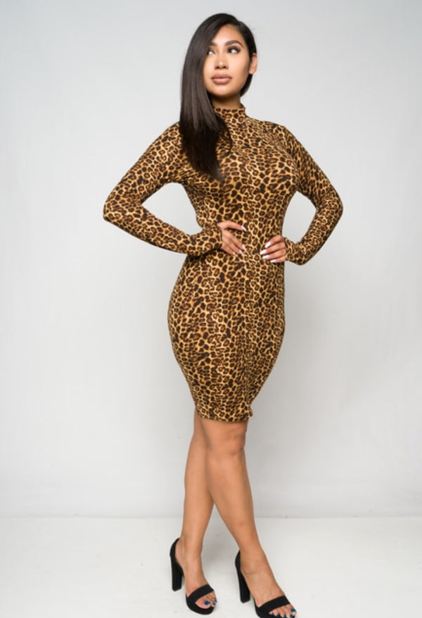 Junior's Long Sleeve Leopard Print Mini Dress