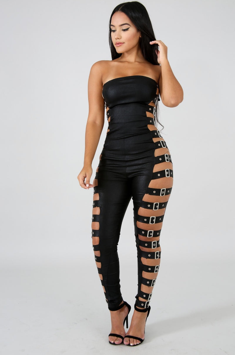 Women's Belted Sleeveless Jumpsuit
