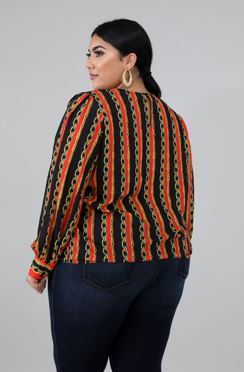 Women's Stripe Chain Print Blouse