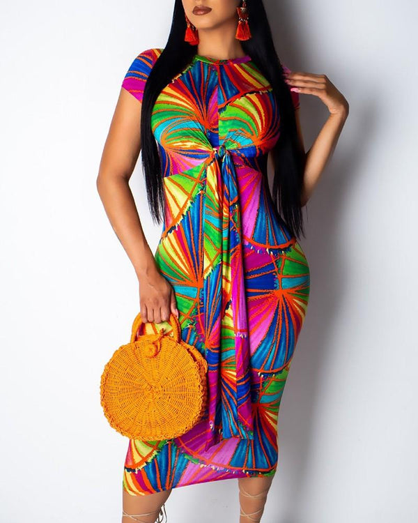 Women's Colorful Print Short-Sleeve Bodycon Dress