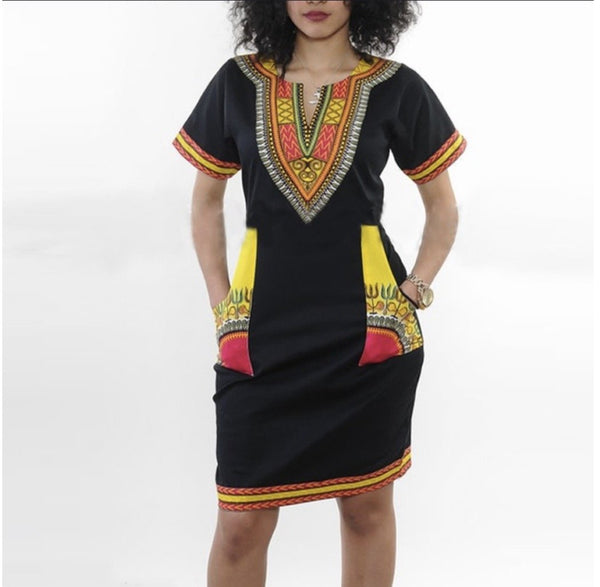 Women's Tribal Print Short-Sleeve Dress
