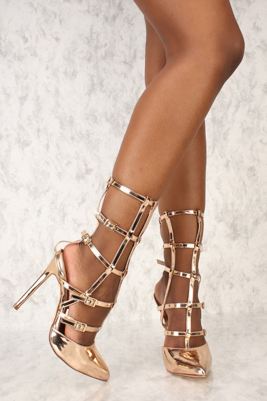Sexy Rose Gold Gladiator Single Sole High Heels