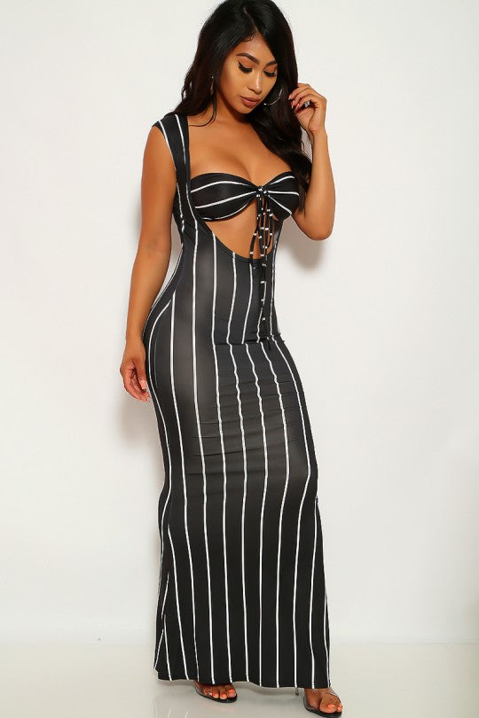 Women's Black And White Pin Striped Front Opening Maxi Dress