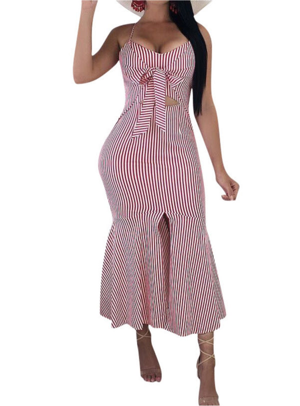 Women's Sleeveless Pin Striped Bodycon Dress