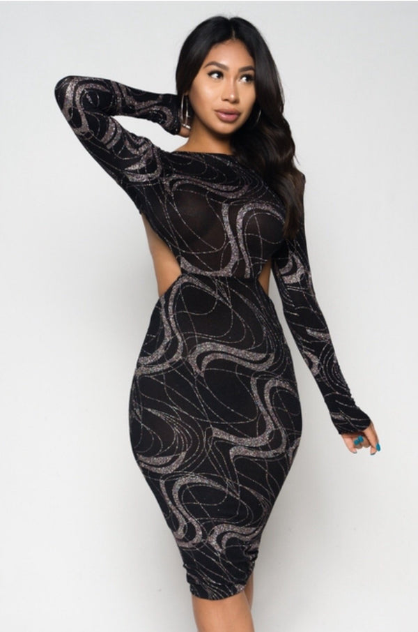 Women's Shiny-Mesh Long-Sleeve Bodycon Dress