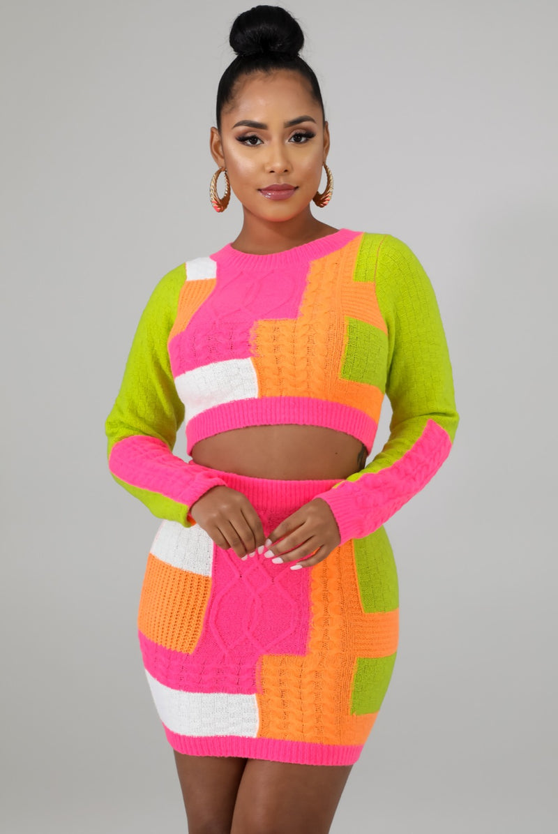 Women's Multi Color Knitted Skirt Set