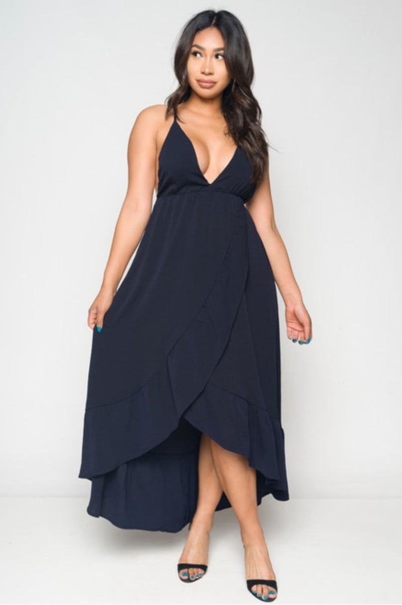 Women's Open Back Navy Blue Ruffle Maxi Dress