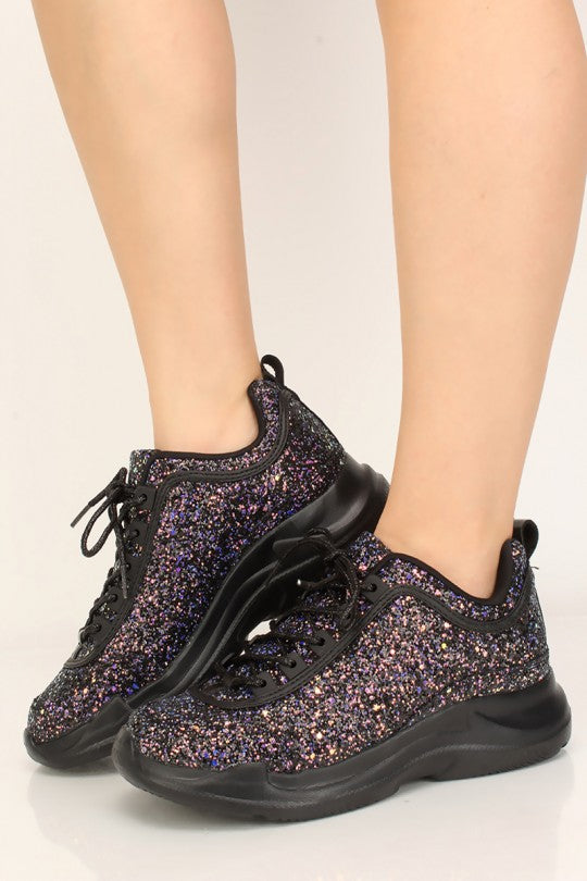 Women's Black Sequins Sneakers