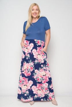 Women's Floral Print Maxi Dress With Pockets