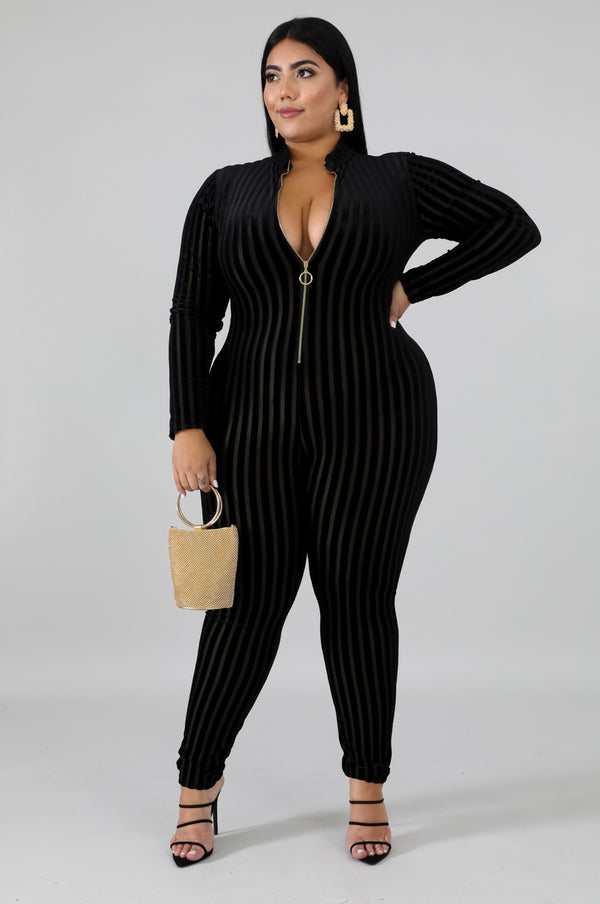 Women's Long Sleeve Sheer Black Jumpsuit