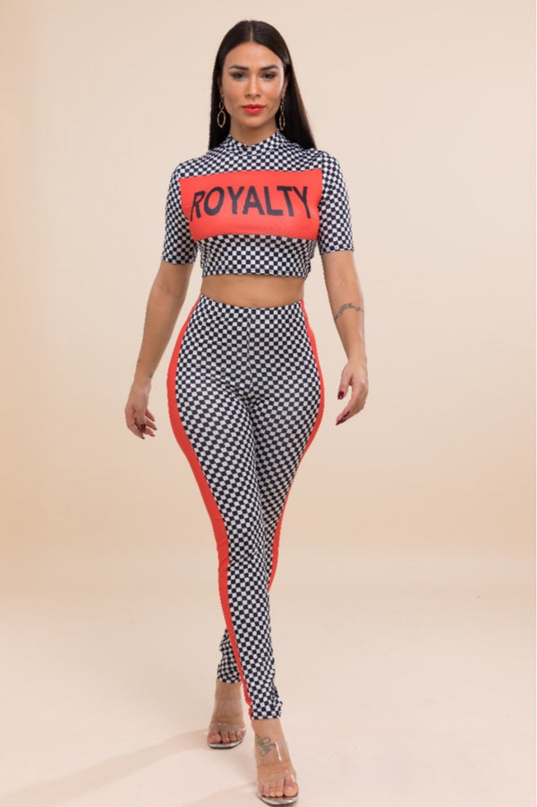Women's Plaid Checkerboard Royalty Set