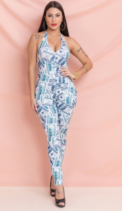 Women's Money Print Haulter Jumpsuit