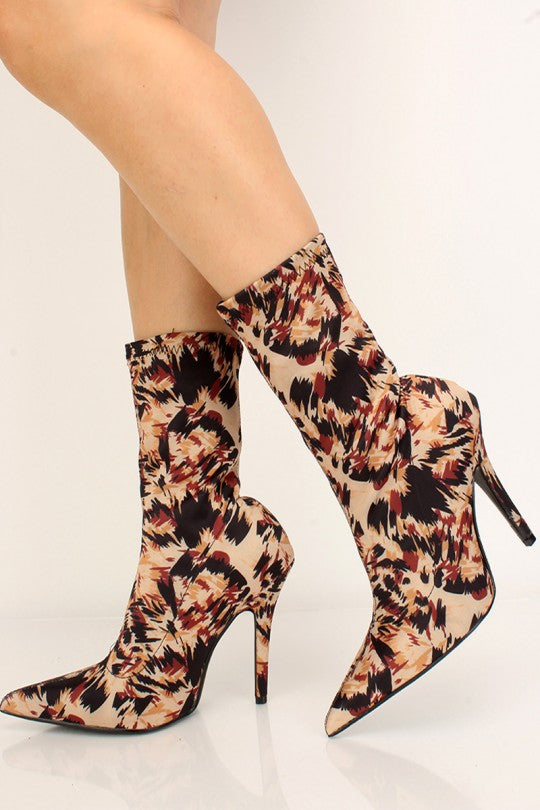 Women's Leopard Print Pointy Toe High Heel Bootie