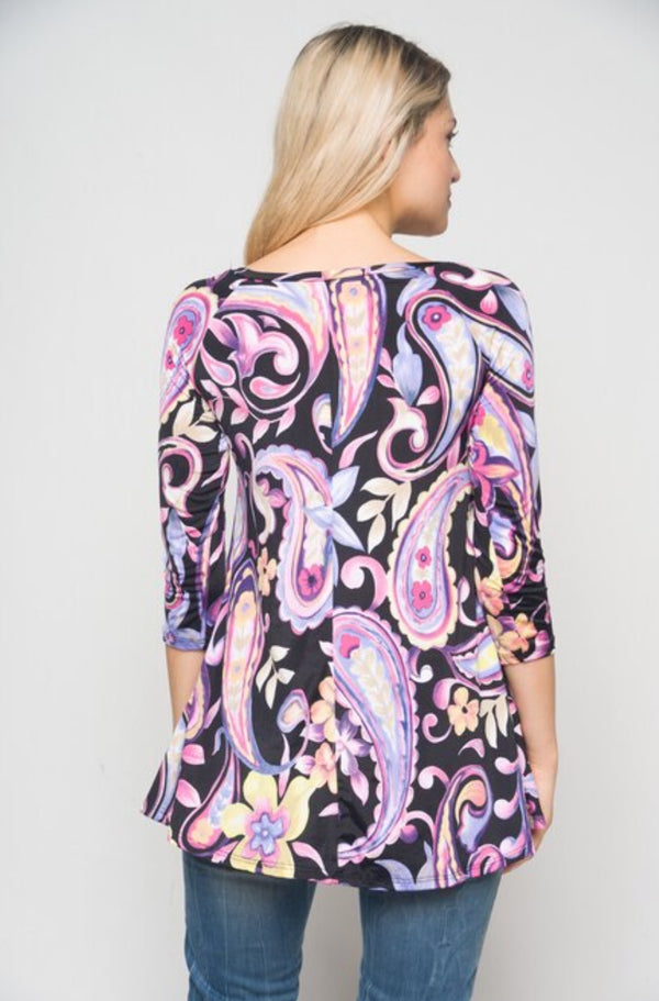 Women's Black And Purple Floral Tunic Top With Pockets