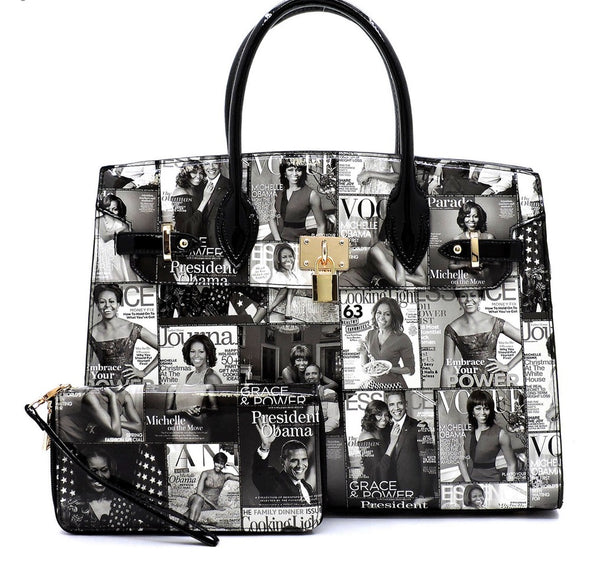 Women's Magazine Cover Handbag with Matching Wallet