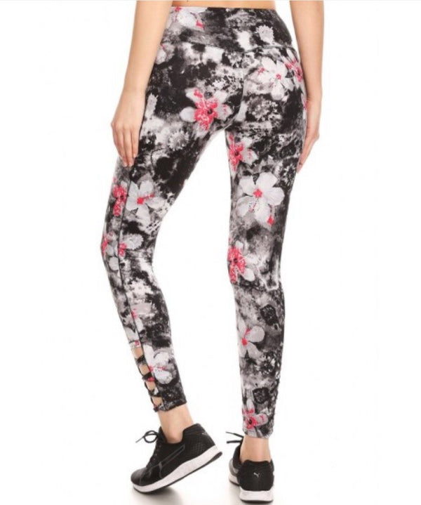 Women's Floral Print High-Waist Workout Leggings