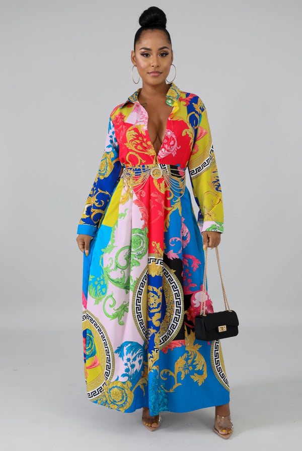 Women's Paisley Multi Color Maxi Dress